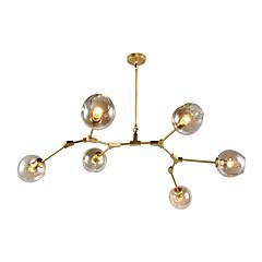 6 têtes d'europe du nord vintage molécules de verre de lustre doré pendentif lumières salon chambre salle à manger