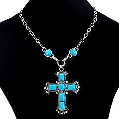 Women's Cross Vintage Bohemian Pendant Necklace Turquoise Turquoise Alloy Pendant Necklace , Gift Evening Party