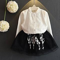 billige Tøjsæt til piger-Pige Tøjsæt Daglig Ensfarvet, Bomuld Polyester Forår Sommer Langærmet Afslappet Hvid