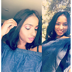 cheap Wigs & Hair Pieces-Remy Human Hair Unprocessed Human Hair Lace Front Wig Brazilian Hair Straight Wig Bob Short Bob Middle Part 130% Density with Baby Hair Natural Hairline Unprocessed Pre-Plucked Bleached Knots Natural