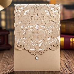 cheap Wedding Invitations-Wrap & Pocket Wedding Invitations 20 pcs-Invitation Cards Classic Style Embossed Paper Ribbons