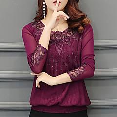 Damen Solide Aktiv Ausgehen Lässig/Alltäglich T-shirt,Rundhalsausschnitt Winter Herbst Langärmelige Polyester Dick
