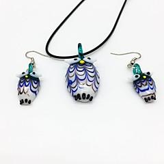 baratos Conjuntos de Bijuteria-Mulheres Conjunto de jóias - Coruja Boêmio, Fashion, Boho Incluir Verde Para Festa Diário / Brincos