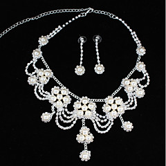 cheap Necklaces-Women's Rhinestone Imitation Pearl Choker Necklace - Fashion Waves Silver Necklace For Wedding Party
