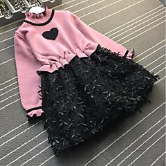 baratos Roupas de Meninas-Bébé Para Meninas Simples Casual Retalhos Estampado Manga Longa Vestido