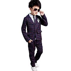 billige Tøjsæt til drenge-Drenge Tøjsæt Daglig Skole Trykt mønster Ternet Tegneserie,Bomuld Polyester Forår Efterår Langt Ærme Afslappet Gade Hvid Rød