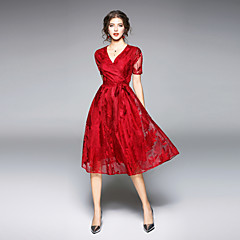 Damen Swing Kleid Solide V-Ausschnitt