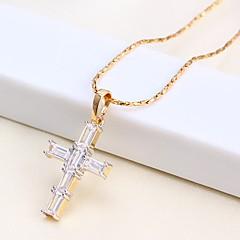 cheap Men's Jewelry-Men's Women's Cross Shape Casual Basic Pendant Necklace Chain Necklace Rhinestone Rose Gold Plated Pendant Necklace Chain Necklace Causal