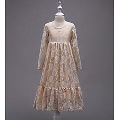 お買い得  女児 ドレス-女の子の 誕生日 お出かけ ソリッド ジャカード コットン ポリエステル ドレス 春 秋 長袖 キュート プリンセス ホワイト ルビーレッド ピンク ベージュ パープル