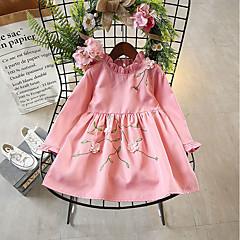 baratos Roupas de Meninas-Menina de Vestido Diário Feriado Sólido Bordado Primavera Outono Algodão Poliéster Manga Longa Fofo Rosa Amarelo