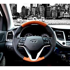 billige Rattovertrekk til bilen-Rattovertrekk til bilen ekte lær 38 cm Svart / Svart / Brun For Hyundai Ny Tucson 2015 / 2016 / 2017