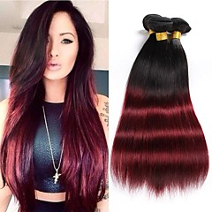 preiswerte 3-Ton Haarverlängerungen-Brasilianisches Haar Gerade Menschliches Haar Webarten 3 Stück 0.3