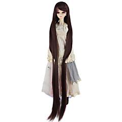 billiga Peruker och hårförlängning-Syntetiska peruker Kinky Rakt Syntetiskt hår Brun Peruk Dam Väldigt länge doll Wig Utan lock