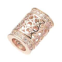 baratos Miçangas & Fabricação de Bijuterias-Jóias DIY 1 pçs Contas Imitações de Diamante Liga Dourado Prata Ouro Rose Cilindro Bead 0.5 cm faça você mesmo Colar Pulseiras