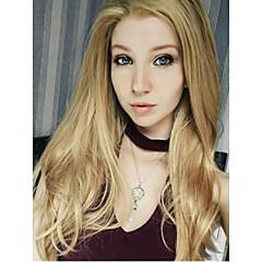 billiga Peruker och hårförlängning-Syntetiska snörning framifrån Rak Blond Dam Spetsfront Halloween Paryk Celebrity Wig Naturlig peruk Cosplay Peruk 13 cm Syntetiskt hår