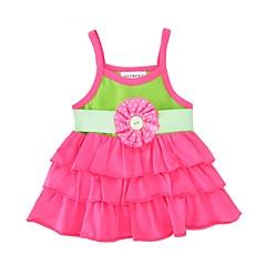 billige Babykjoler-Baby Pigens Kjole Fødselsdag Daglig Farveblok, Bomuld Uden ærmer Sødt Aktiv Rosa
