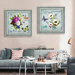 billige Innrammet kunst-Dyr Blomstret/Botanisk Tegning Veggkunst,PVC Materiale med ramme For Hjem Dekor Rammekunst Stue Soverom Kjøkken Spisestue Barnerom Kontor