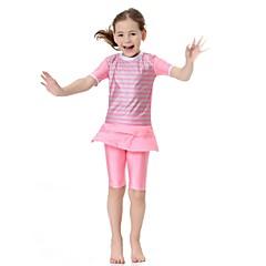 baratos Roupas de Meninas-Para Meninas Simples Activo Listrado Roupa de Banho, Fibra Sintética Lycra Manga Curta Rosa Azul Claro