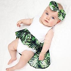 billige Babytøj-Baby Pige Vintage Sport Ensfarvet / Blomstret Uden ærmer Bomuld / Hør / Bambus Fiber Bodysuit
