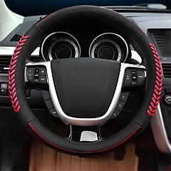 billige Rattovertrekk til bilen-Rattovertrekk til bilen ekte lær 38 cm Svart / Rød Til Ford Focus / Escort / Mondeo Alle år