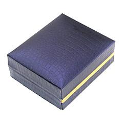 billige Smykkeemballage og displays-Smykkeskrin Manchetknapper Box Kvadrat Blå Hård Læder