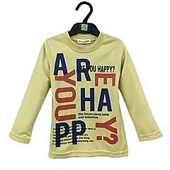 baratos Roupas de Meninos-Para Meninos Sólido Letra Camiseta, Algodão Primavera Outono Manga Longa Simples Amarelo
