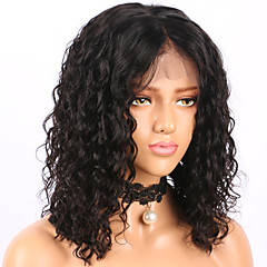 cheap Wigs & Hair Pieces-Human Hair Glueless Lace Front Lace Front Wig Brazilian Hair Curly Water Wave Wig Bob Short Bob Middle Part 130% Density with Baby Hair Natural Hairline Glueless Pre-Plucked Women's Human Hair Lace