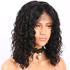 billiga Peruker och hårförlängning-Äkta hår Spetsfront Peruk Brasilianskt hår Lockigt Vattenvågor Kort Bob Bob-frisyr 130% Densitet Med Babyhår limfria Mittbena Naturlig