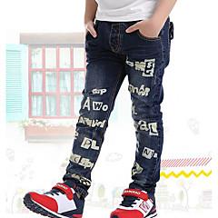 baratos Roupas de Meninos-Para Meninos Jeans Letra Primavera Azul