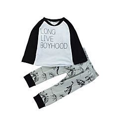billige Tøjsæt til drenge-Baby Drenge Afslappet Daglig Farveblok / Dyr Langærmet Normal Normal Bomuld Tøjsæt Hvid