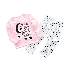billige Babytøj-Baby Pige Simple / Afslappet Bogstaver Langærmet Bomuld Tøjsæt