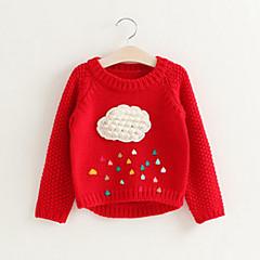 billige Sweaters og cardigans til piger-Pige Trøje og cardigan Patchwork, Rayon Forår Efterår Langærmet Simple Sødt Rød Grå