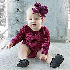 billige Babytøj-Baby Pige Simple / Vintage Ensfarvet Kortærmet Bomuld / Hør / Bambus Fiber Bodysuit