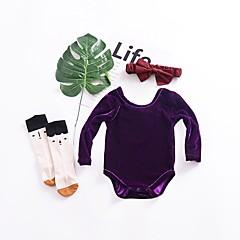 billige Babytøj-Baby Pige Simple / Vintage Sport Ensfarvet Kortærmet Bomuld / Hør / Bambus Fiber Bodysuit