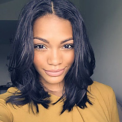 cheap Human Hair Wigs-Human Hair Lace Front Wig Brazilian Hair Straight Middle Part Short Bob 130% Density With Baby Hair With Bleached Knots Glueless Natural