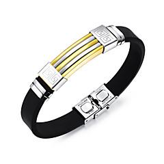 billige -Herre Rustfrit Stål 1pc Armbånd ID armbånd - Mode Sej Line Guld Sort Sølv Armbånd Til Daglig I-byen-tøj