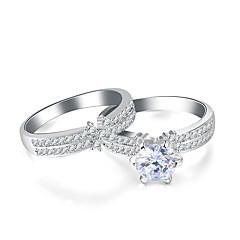 ieftine Verighete-Pentru femei Zirconiu Cubic Band Ring - Floare, Infinit Vintage, Elegant 7 / 8 / 9 Argintiu Pentru Nuntă / Logodnă / Ceremonie