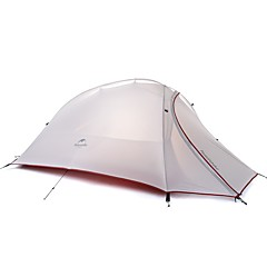 billige Telt og ly-Naturehike 3-4 personer Dobbelt camping Tent Utendørs Turtelt Fort Tørring Vindtett Regn-sikker til >3000 mm silica Gel Oxfordstoff