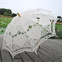 cheap Fans & Parasols-handmade craft lace umbrella stick straight handle decorative wedding photography props umbrella beige