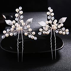Χαμηλού Κόστους Αξεσουάρ κεφαλής για πάρτι-Μαργαριτάρι / Κρύσταλλο / Κράμα Hair Stick με Κρυσταλλάκια / Πέρλες 1 Pair Γάμου / Καθημερινά Ρούχα Headpiece