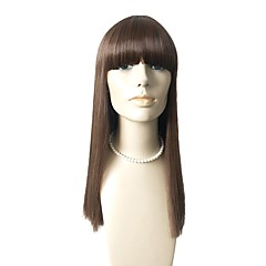 cheap Wigs & Hair Pieces-Synthetic Wig Straight Brown With Bangs Synthetic Hair Natural Hairline Brown Wig Capless Black / Brown