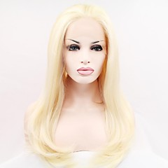 cheap Wigs & Hair Pieces-Synthetic Lace Front Wig Straight Blonde Synthetic Hair Blonde Wig Women's Mid Length Lace Front