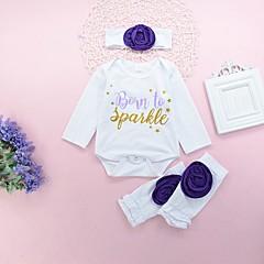 billige Pigetoppe-Baby Pige Boheme Ferie / I-byen-tøj Ensfarvet / Blomstret / Trykt mønster Drapering Langærmet Lang Bomuld Bluse / Sødt