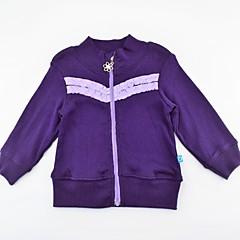 billige Pigetoppe-Spædbarn Pige Aktiv / Basale Ensfarvet / Farveblok Krøllede Folder / Patchwork Langærmet Bomuld Bluse / Sødt