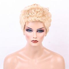 cheap Human Hair Capless Wigs-Human Hair Capless Wigs Human Hair Curly Layered Haircut Pixie Cut With Bangs Medium Machine Made Wig Women's