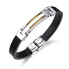 cheap Bracelets-Men's Leather Cool 1pc Bangles ID Bracelet - Fashion Line Gold Black Silver Bracelet For Daily Going out