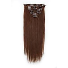 Χαμηλού Κόστους Εξτένσιονς μαλλιών με κλιπ-Κουμπωτό Επεκτάσεις ανθρώπινα μαλλιών 7pcs / Πακέτο 70g / πακέτο Καστανό / Φράουλα Ξανθιά Medium Brown / Bleach Blonde Το Golden Brown /