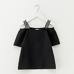 billige Pigetoppe-Børn Pige Simple Ensfarvet Bomuld Bluse