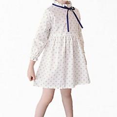 baratos Roupas de Meninas-Menina de Vestido Diário Floral Primavera Outono Algodão Poliéster Manga Longa Simples Fofo Branco