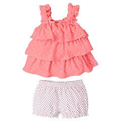 billige Babytøj-Baby Pige Afslappet Geometrisk Uden ærmer Tøjsæt